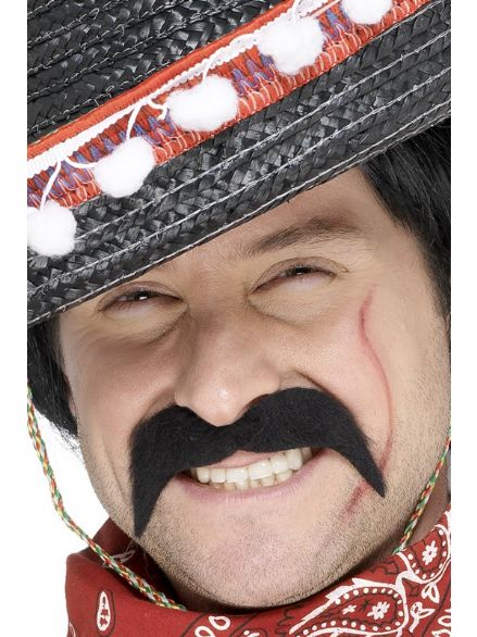 Wild West Mexican Bandit Moustache Black